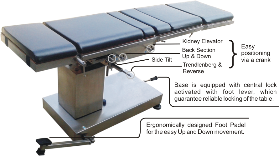 C Arm Compatible Hydraulic Operation Theatre Table